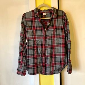 women's black/gray/red j. crew flannel shirt